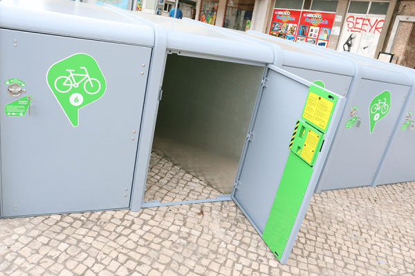 Bicisafe Double Public use Locker with rectangular shape designed to fit two bikes, one from each side.